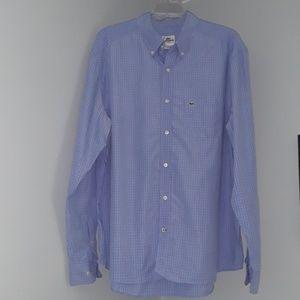 Lacoste Slim Fit Blue & White Button Down Shirt